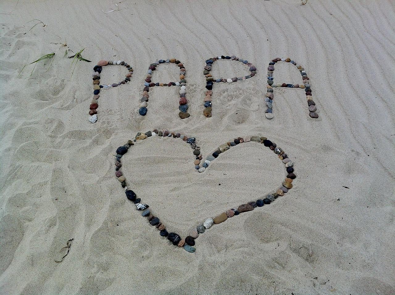 砂浜に書いたPAPAの字